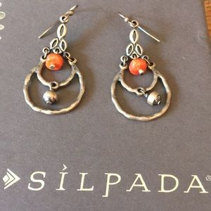 Silpada Oxidized SS Coral Dangle Bead Earrings